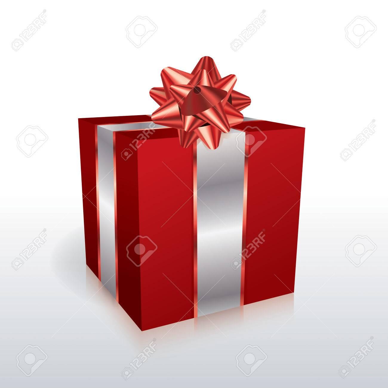Eine Rote Weihnachtsferien Geschenk Mit Einem Bogen Auf Einem Weißen ...