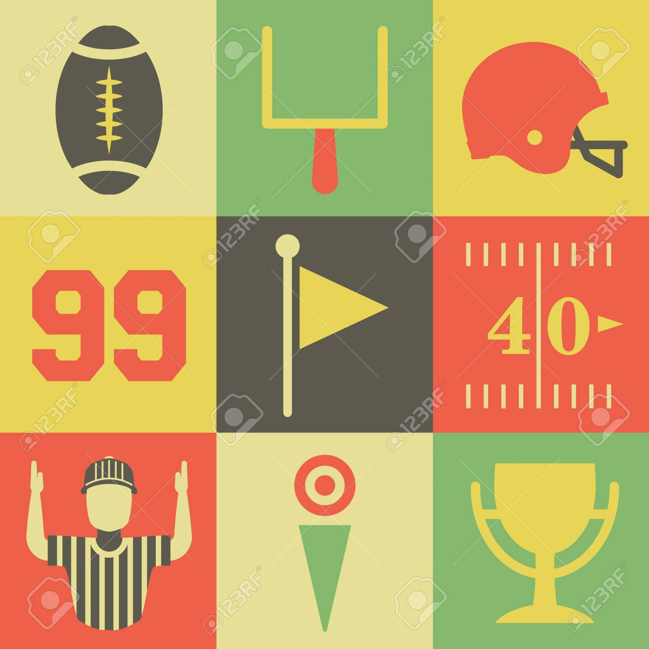 A flat set of vintage American football icons and graphics. Vector available. - 45581327