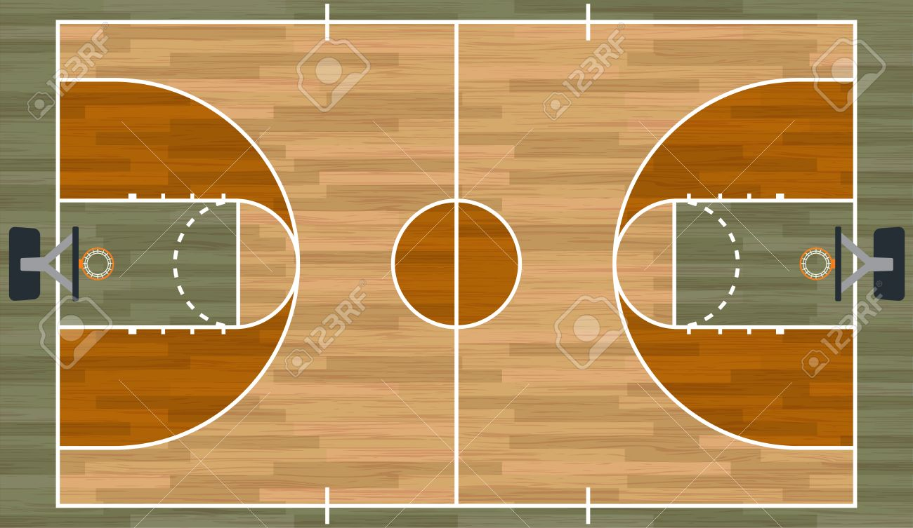A Realistic Hardwood Textured Basketball Court Illustration