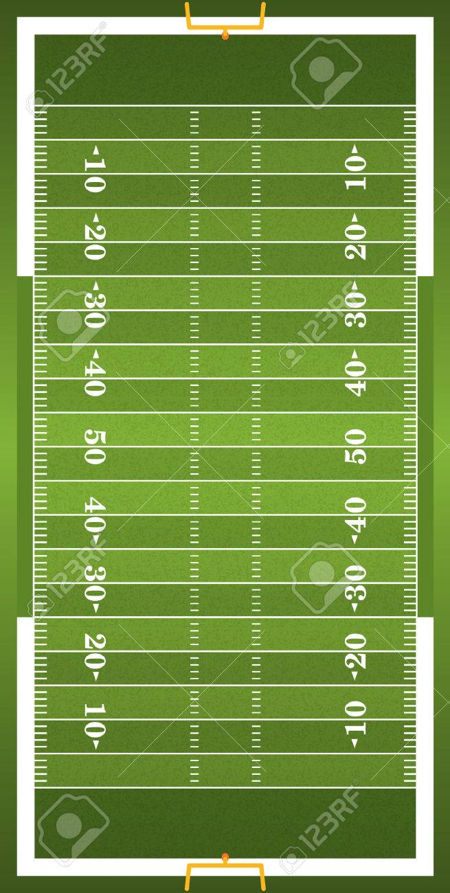 A vertical grass textured American football field illustration. EPS 10. File contains transparencies. - 49537376