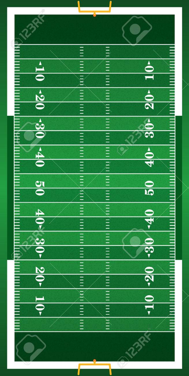 A vertical grass textured American football field illustration. EPS 10. File contains transparencies. - 49537513