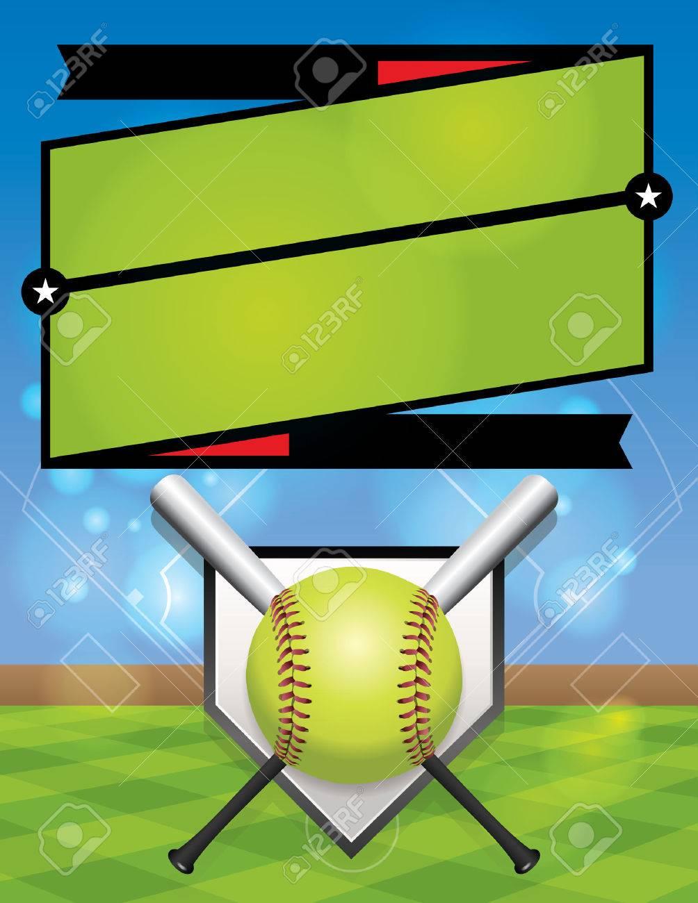 A vector illustration for a softball league flyer. - 49867945