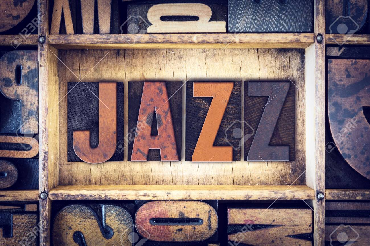 """The word """"Jazz """" written in vintage wooden letterpress type. - 50198623"""