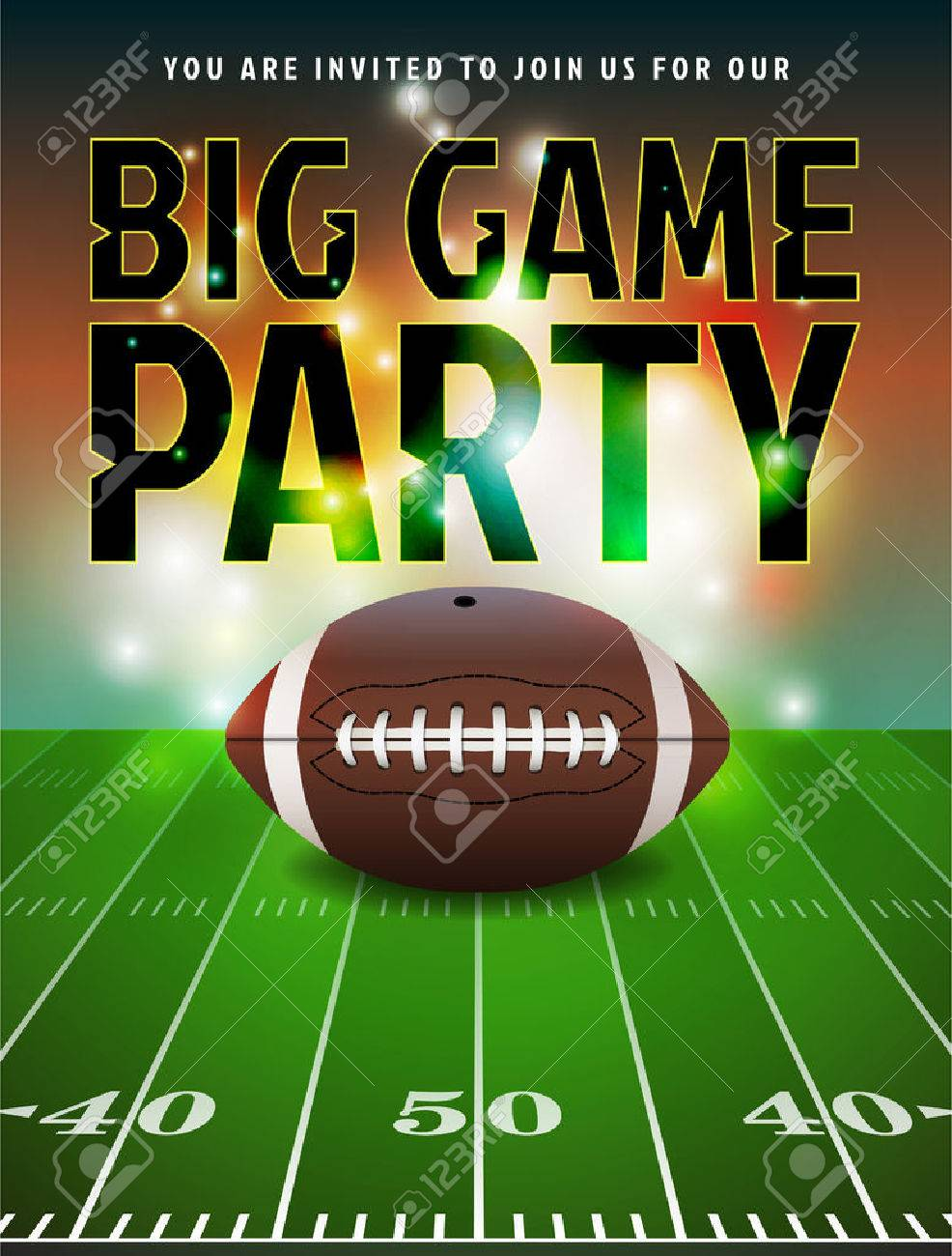 american football party invitation illustration royalty free