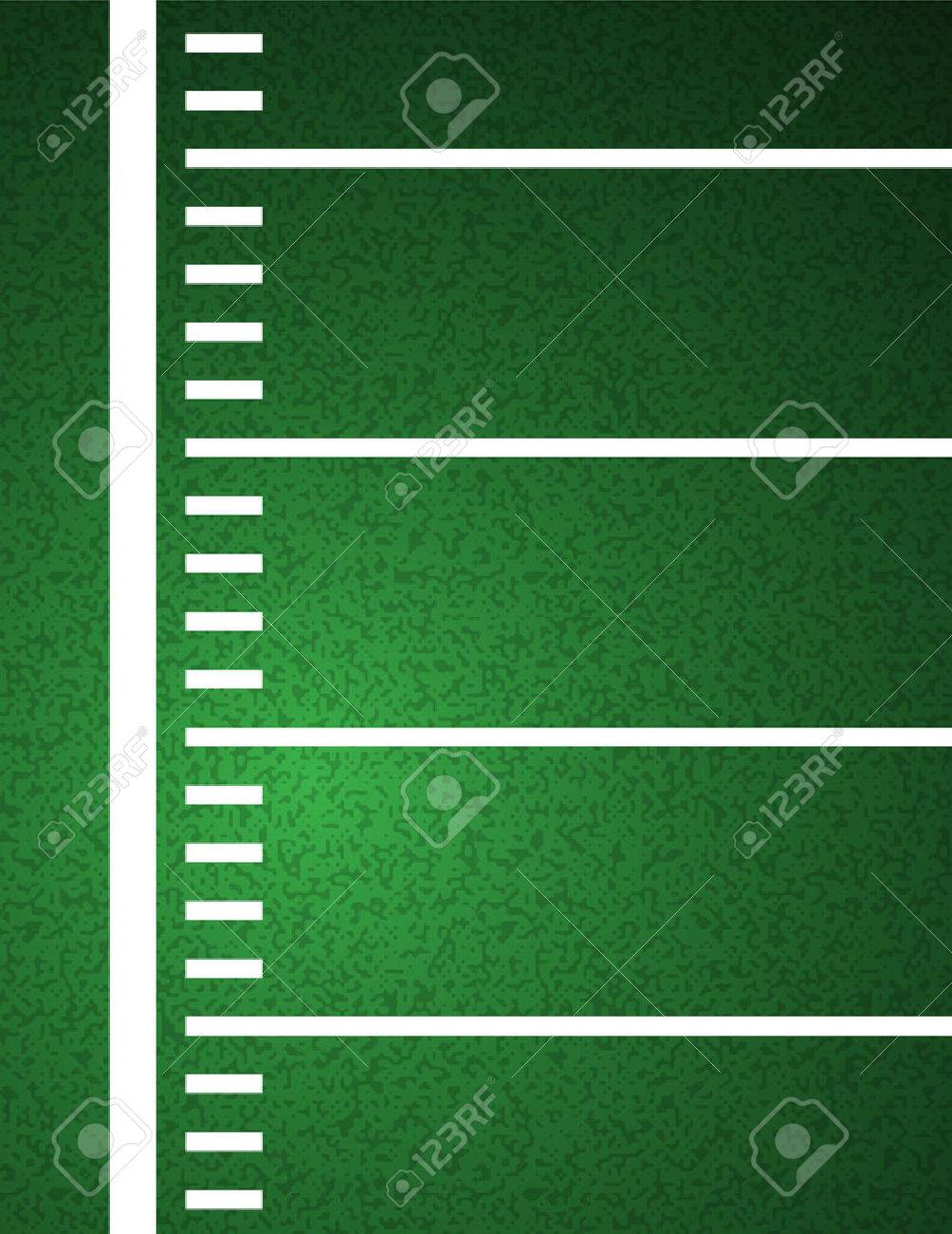 An American Football field sideline and yardline textured field background illustration. - 51394590