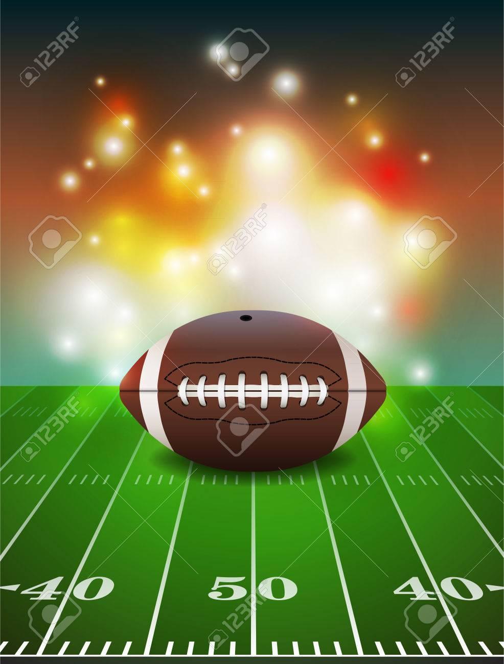 American football on grass turf field illustration. - 51394599