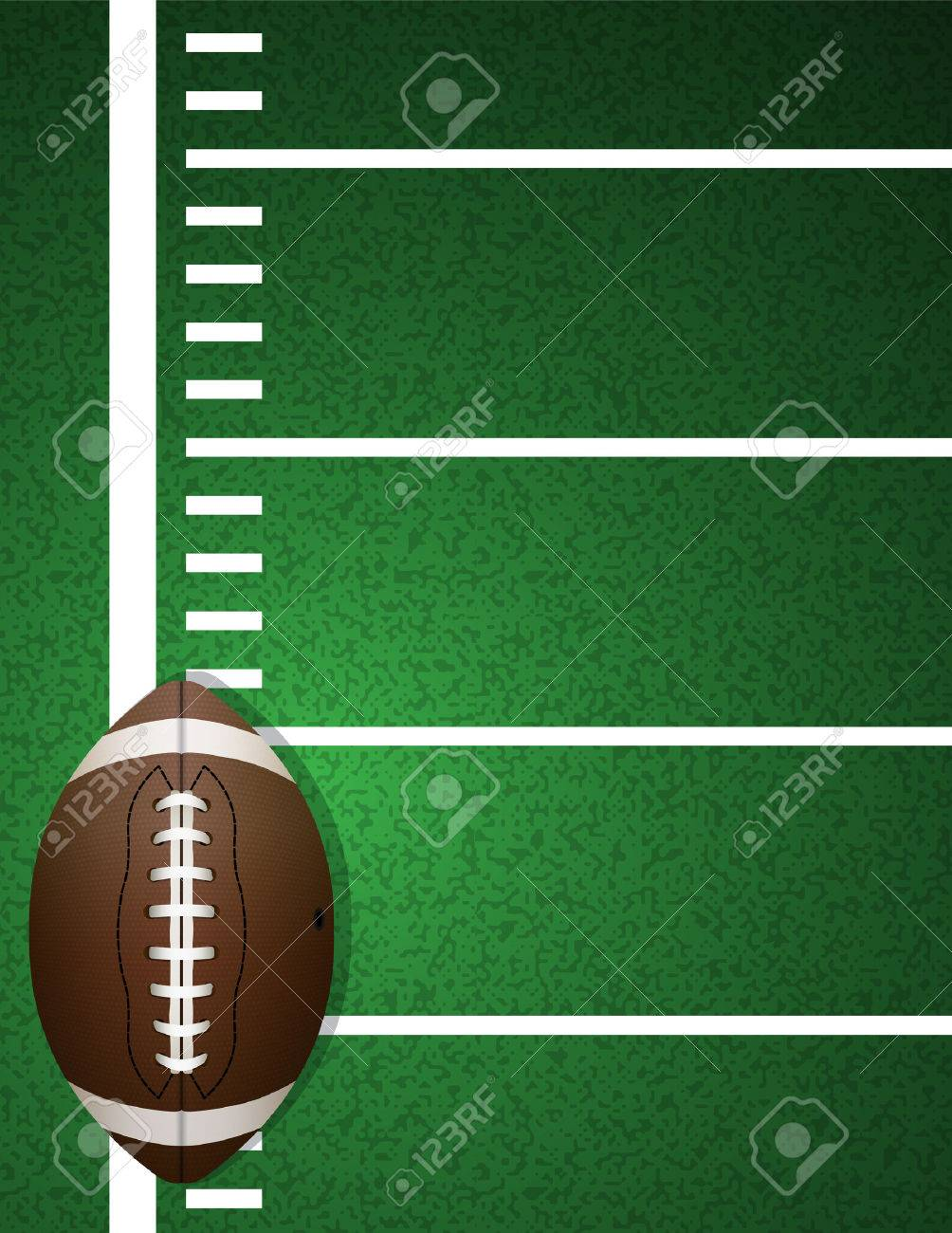 An illustration of an American football on a realistic textured turf field background. - 51394601