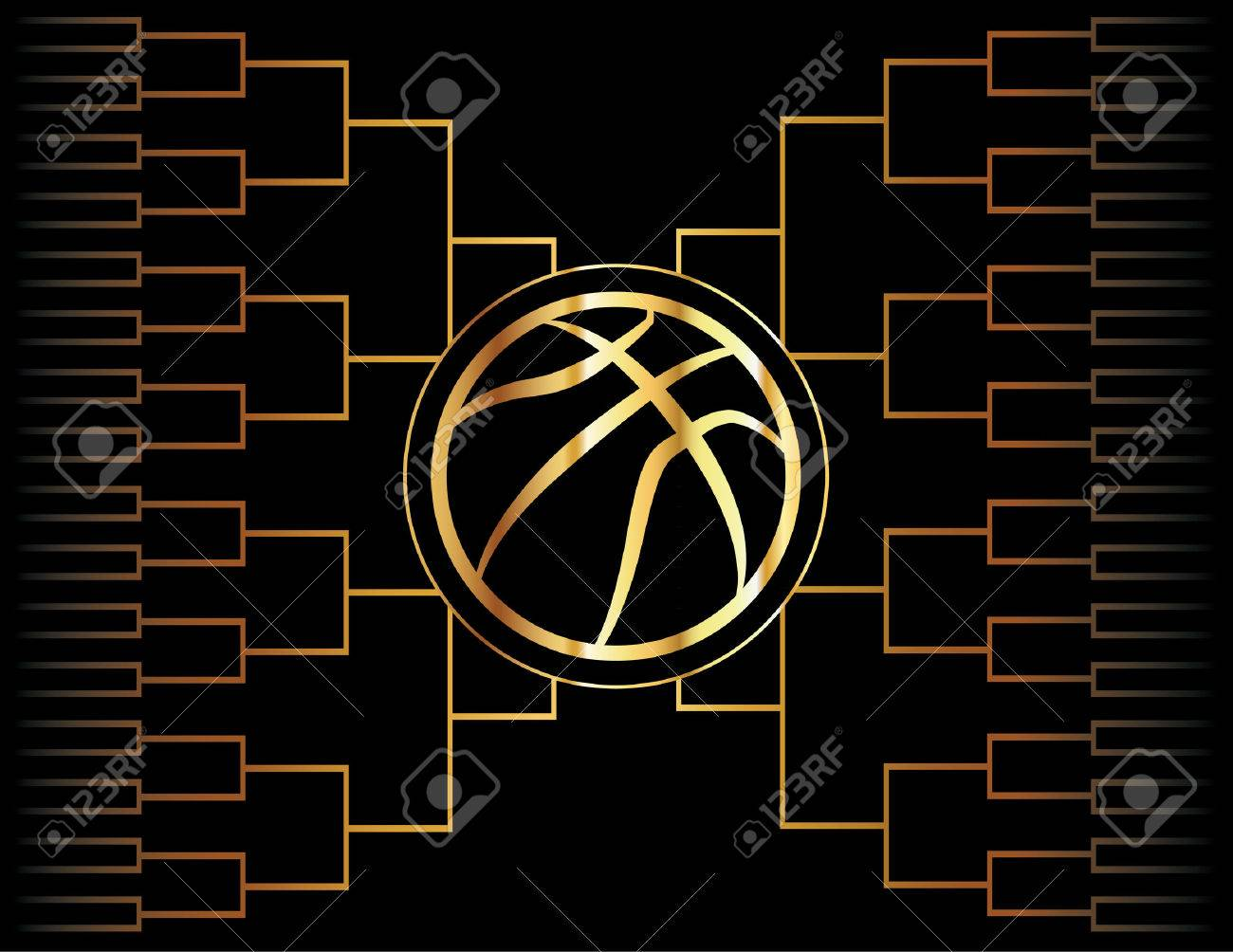 A golden basketball icon over a gold colored tournament bracket. Vector EPS 10 available. - 52277422