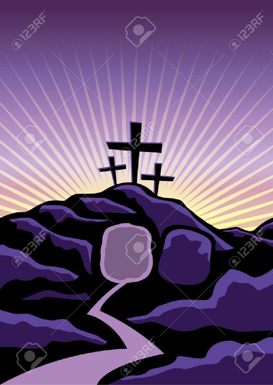 A Christian Easter background with empty tomb and crosses. Vector EPS 10 available. - 52277427