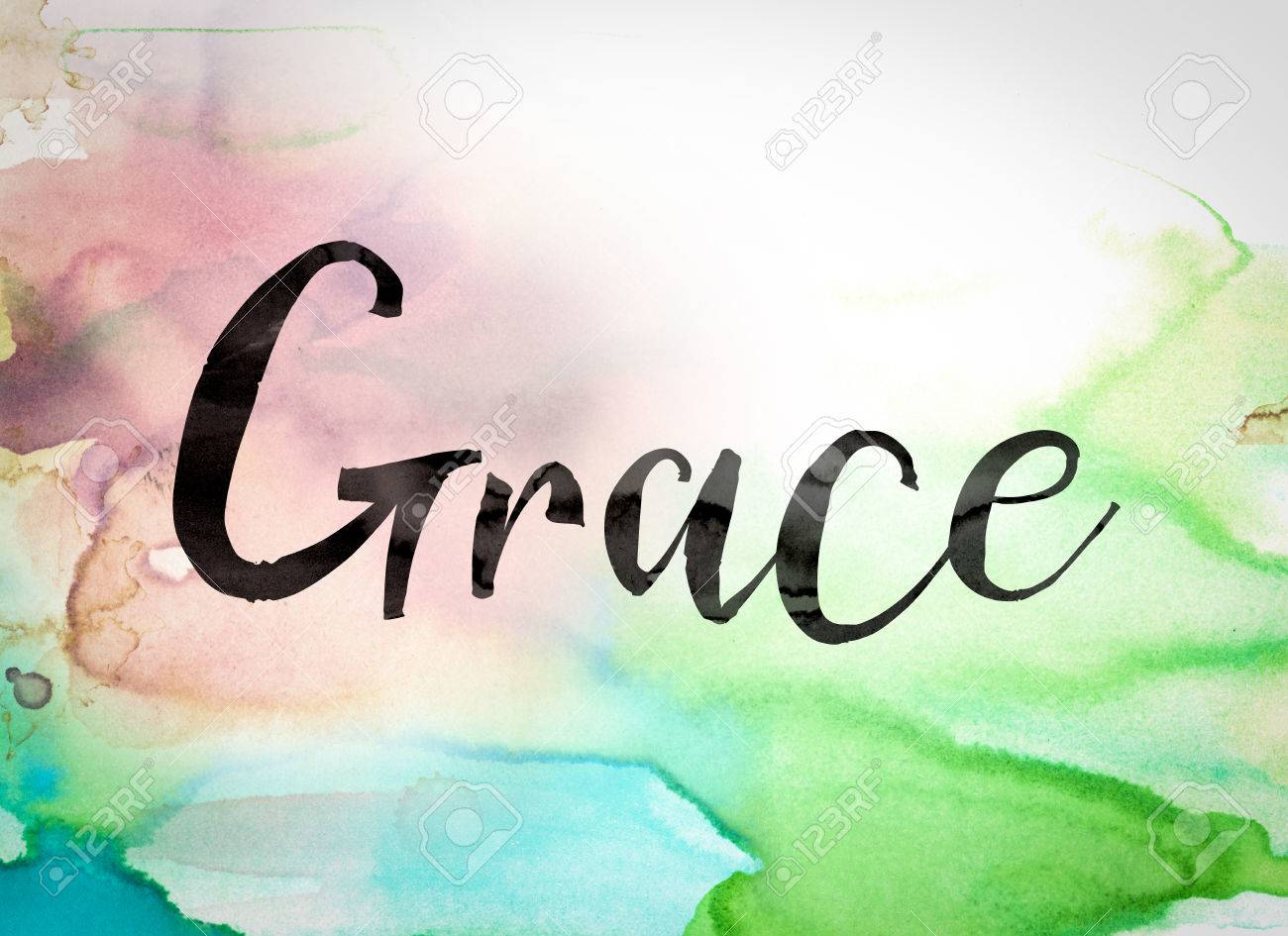 """The word """"Grace"""" written in black paint on a colorful watercolor washed background. - 55678148"""