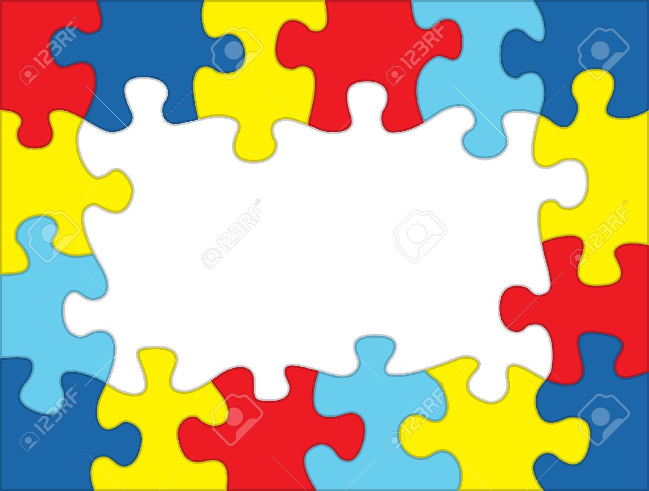 Ein Rahmen Aus Aus Autismus Bewusstsein Farbigen Puzzle-Teile. Raum ...