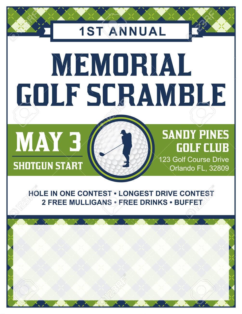 A template for a golf tournament scramble invitation flyer. - 56861232