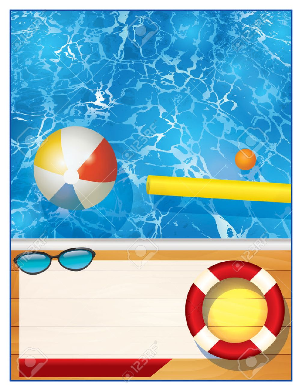 A blank swimming pool background with room for copy for a party invitation or special event. Vector EPS 10 available. - 57113293
