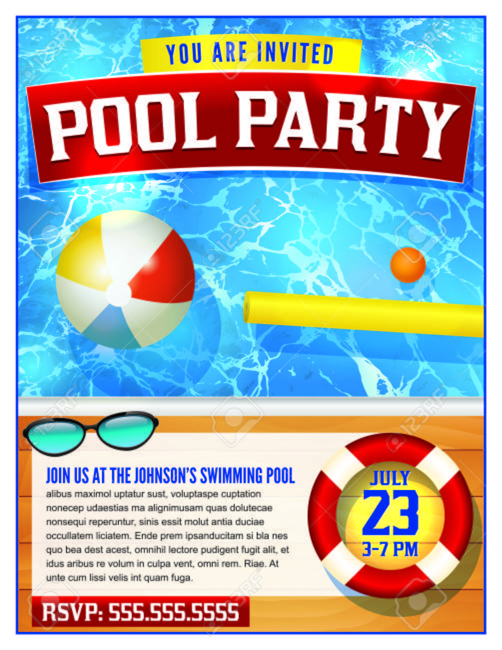 A template for a pool party invitation. Vector EPS 10 available. - 57113294