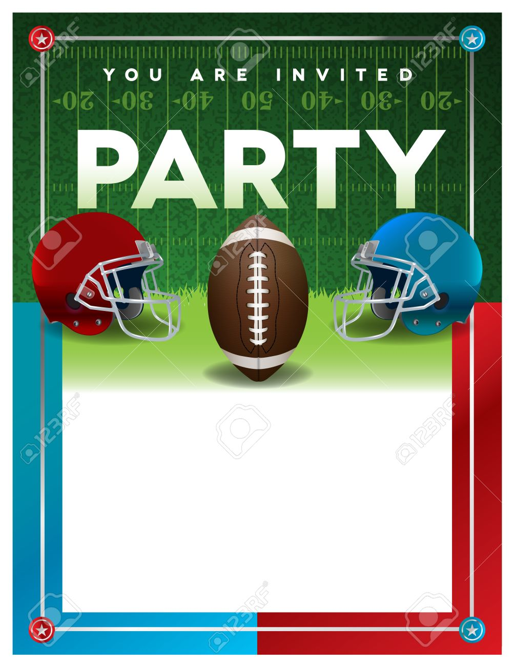 an american football party invitation flyer template design with