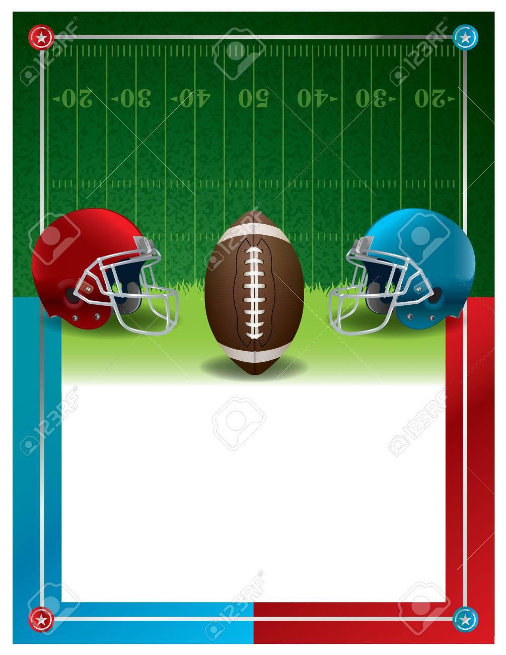 Ein American Football Party Einladung Flyer Vorlage Design Mit Platz Für  Die Kopie.