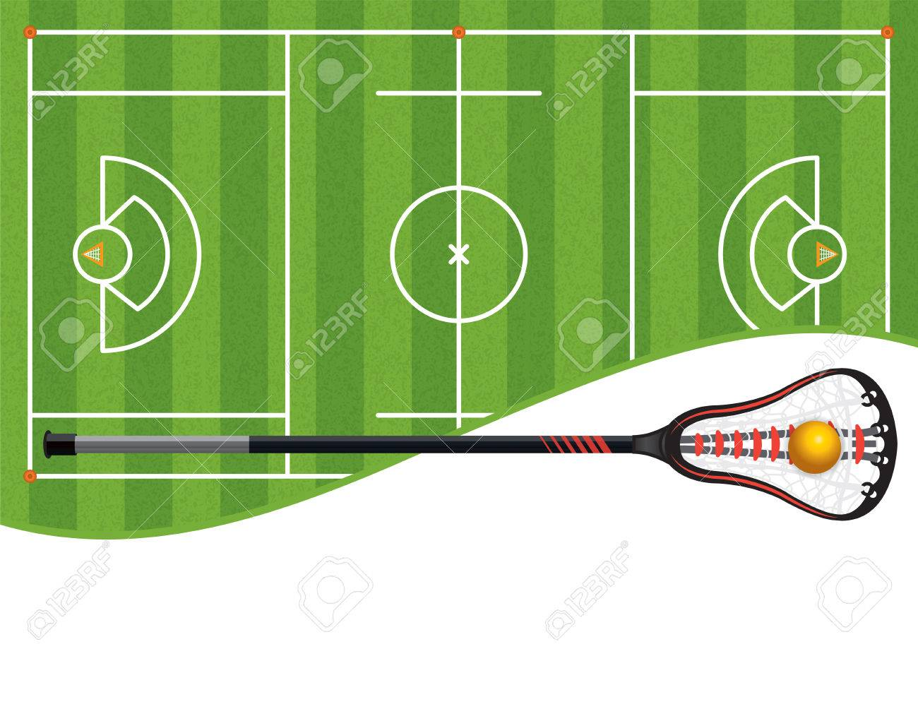 A lacrosse field with a lacrosse stick and ball and room for copy. Vector EPS 10 available. - 57975514
