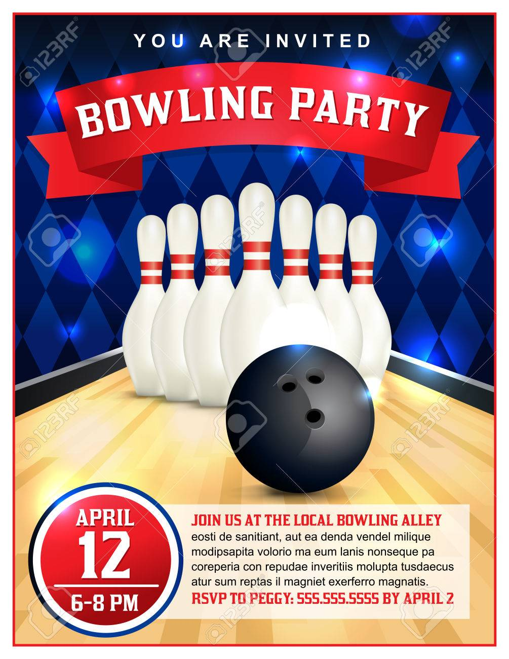 A Bowling Party Flyer Template Great For Birthday Parties Bowling