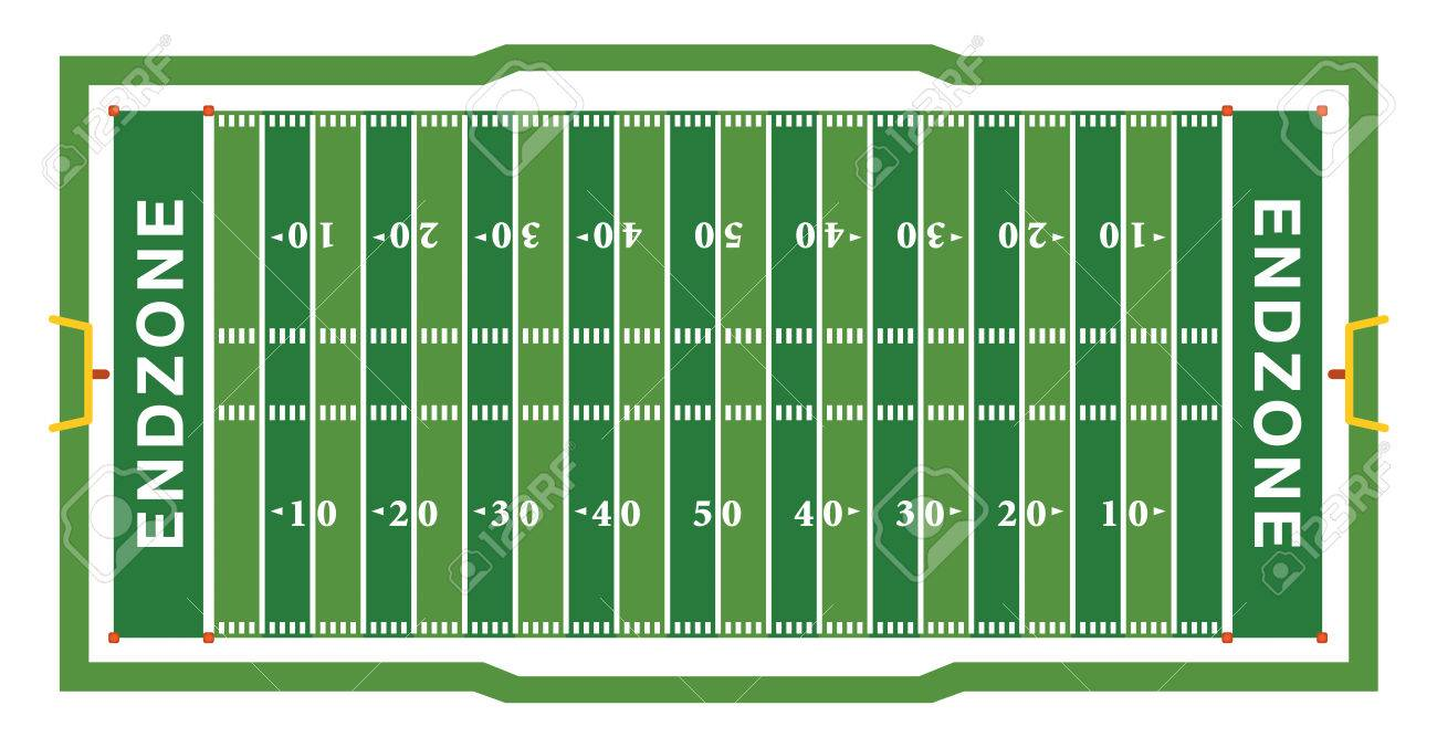 A realistic aerial view of an official American football field layout dimensions. - 60428504