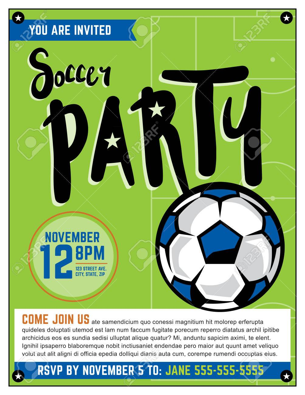 a soccer party theme invitation template royalty free cliparts