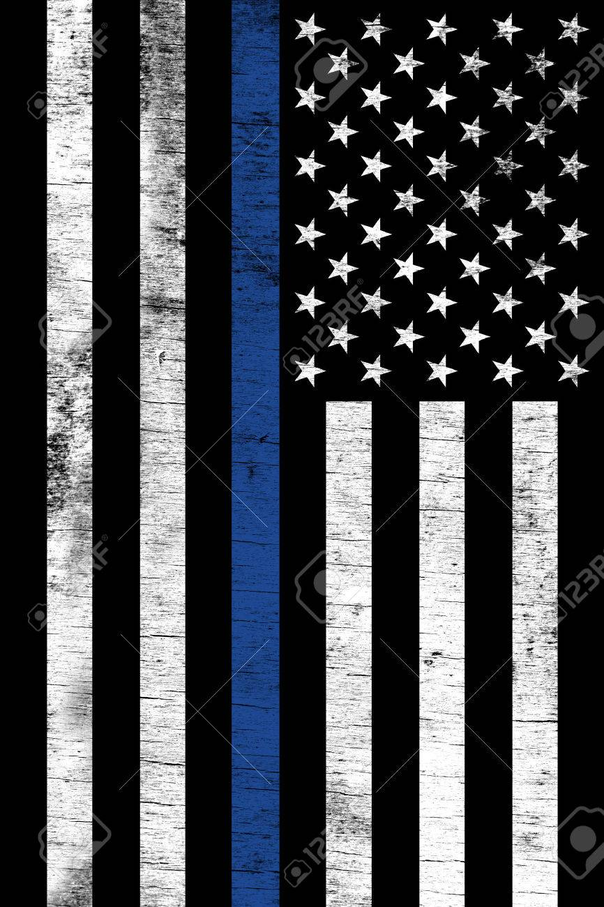 A police law enforcement support flag shown vertically with a grunge  texture. Stock Photo - 2f8d0f2a95e