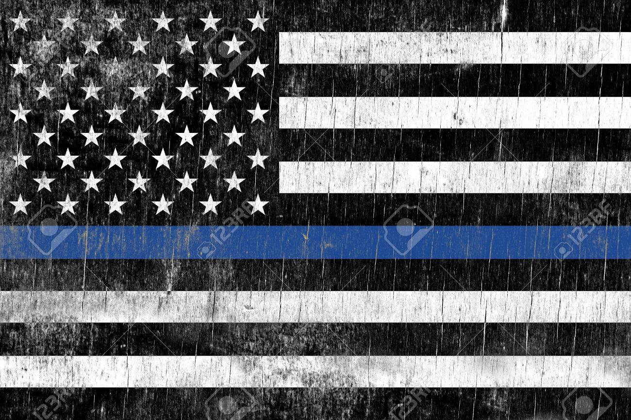 A law enforcement police support flag painted over a cracking wooden texture. - 61848380