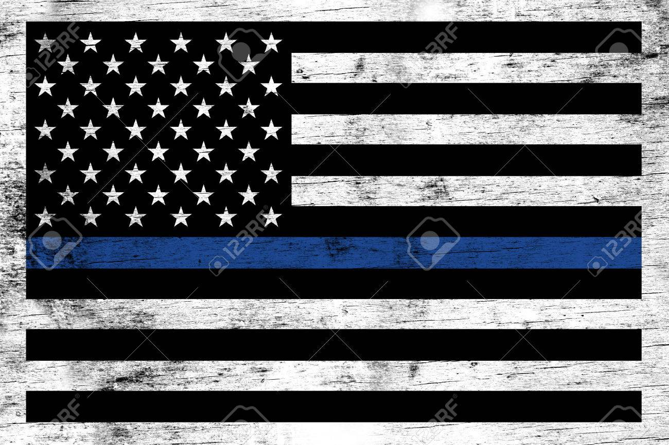 A police and law enforcement support flag stained over a weathered white wooden background. - 61849533