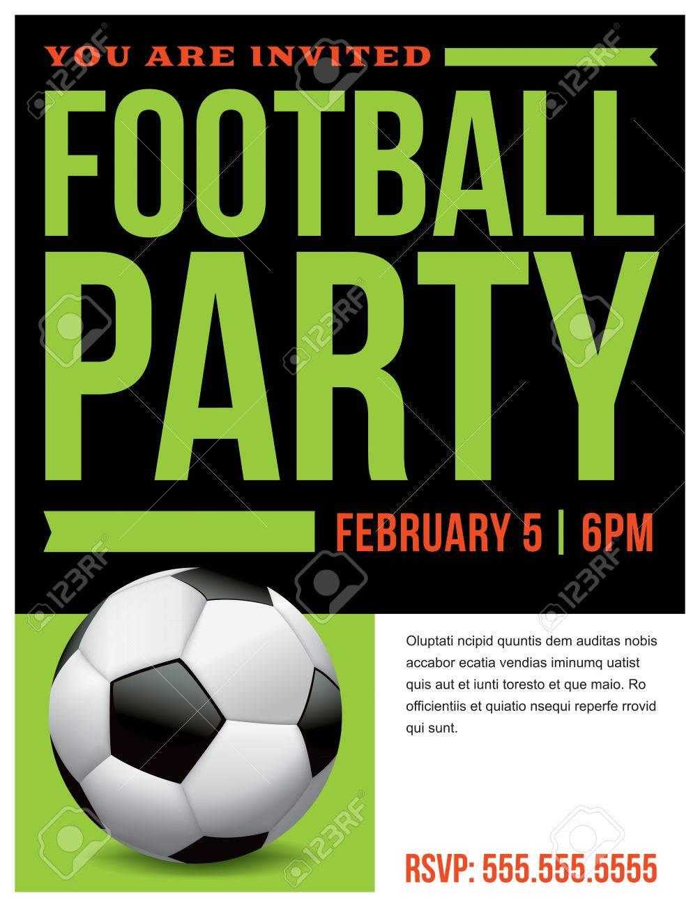 a flyer for a soccer football party invitation template vector