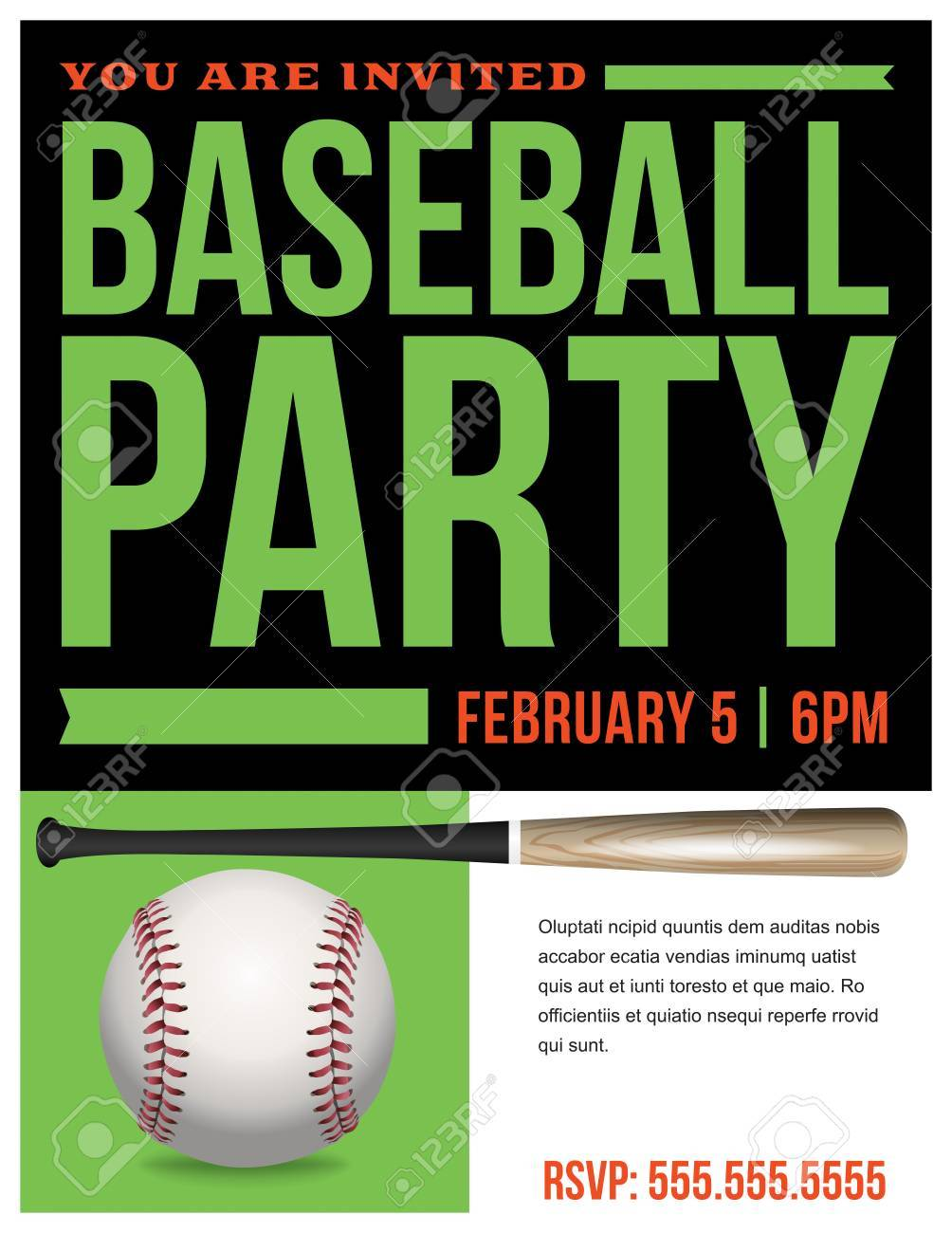 A Flyer For Baseball Party Invitation Template