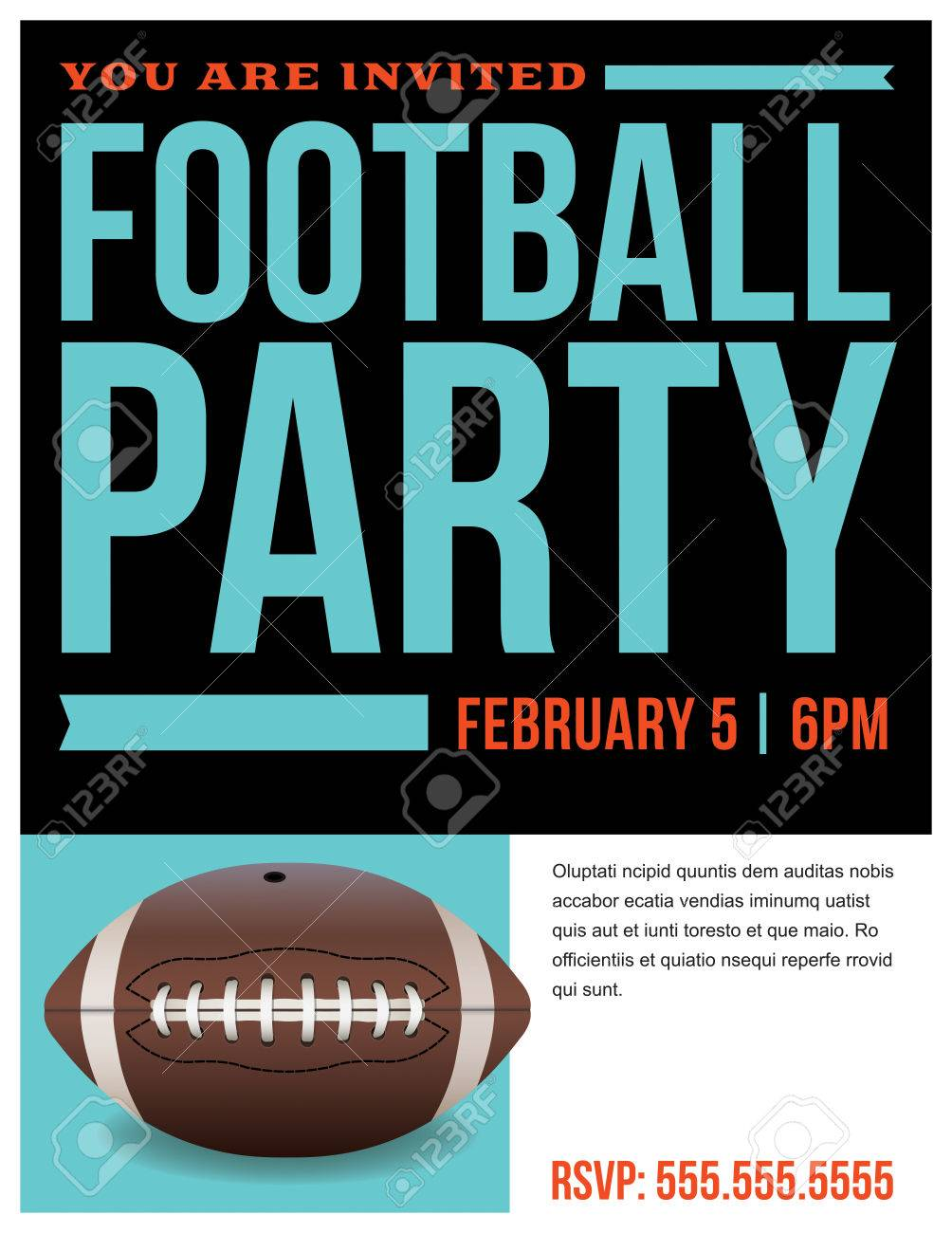 a flyer for an american football party invitation template royalty