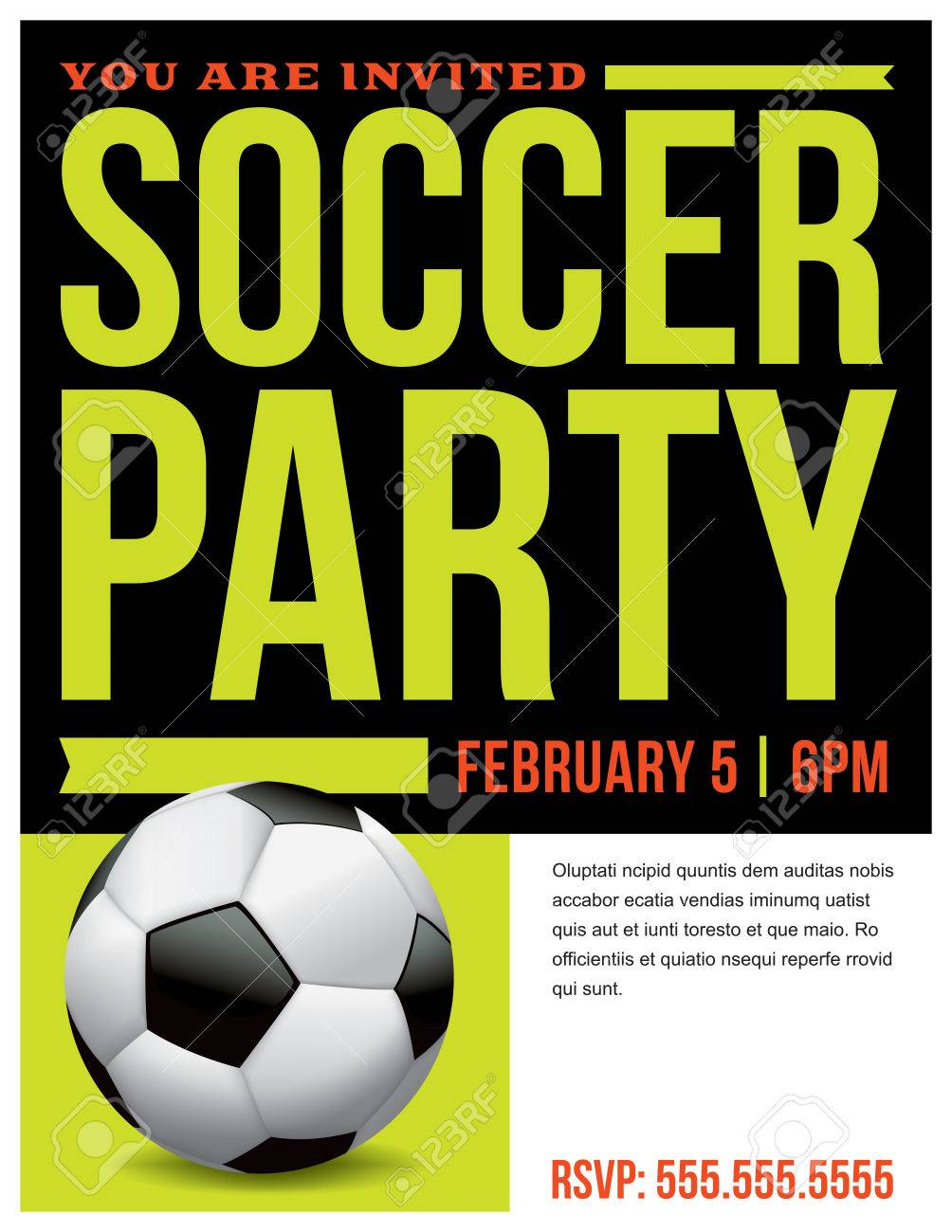 A Flyer For A Soccer Party Invitation Template. Royalty Free ...