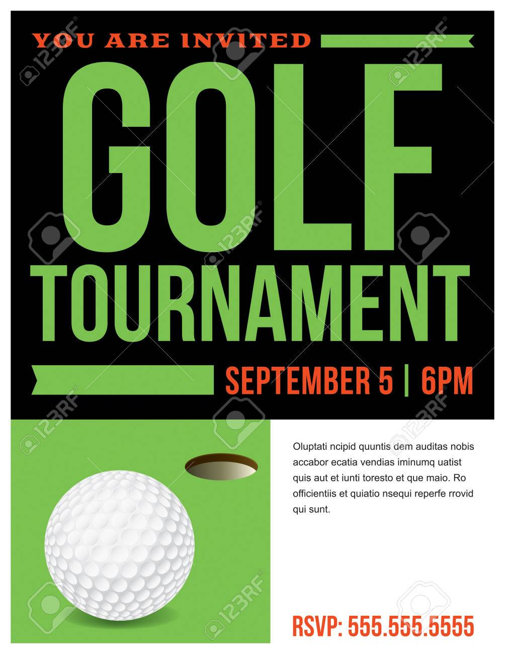 a flyer for a golf tournament invitation template royalty free