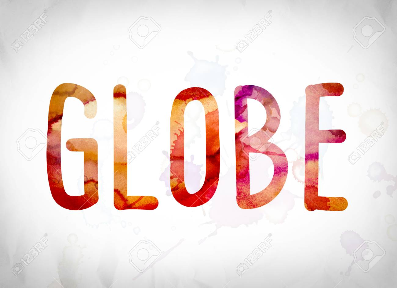the word globe written in watercolor washes over a white paper