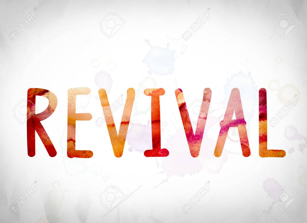 """The word """"Revival"""" written in watercolor washes over a white paper background concept and theme. - 63421533"""