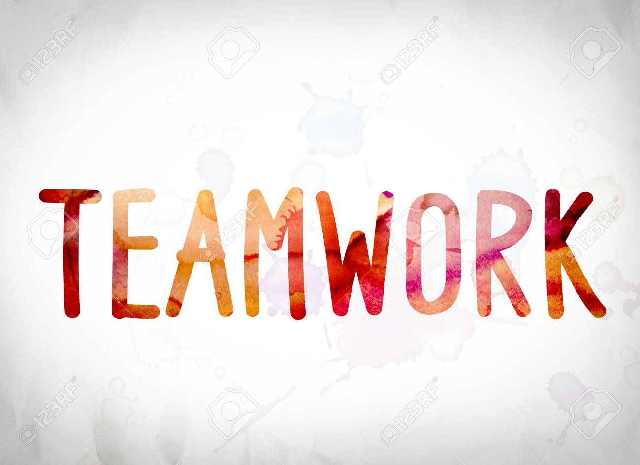 the word teamwork written in watercolor washes over a white