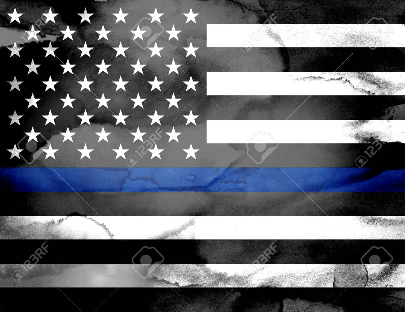 A police support flag with a blue line painted with washes of watercolor  paint. Stock e133ed65ad0