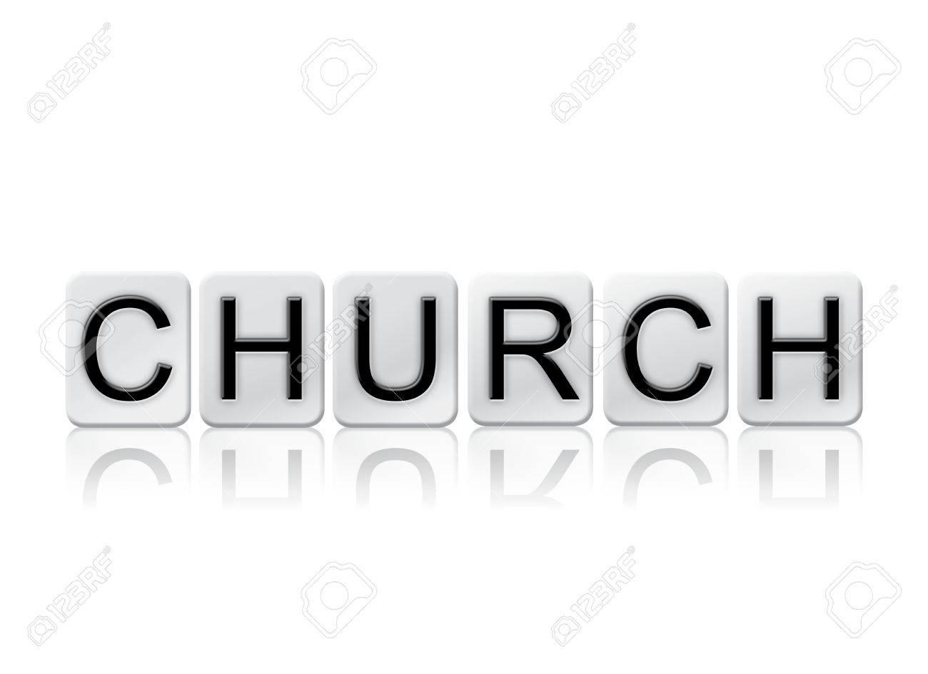 Das Wort Kirche Geschrieben In Fliesen Briefe Auf Einem Weißen - Fliesen maße standard