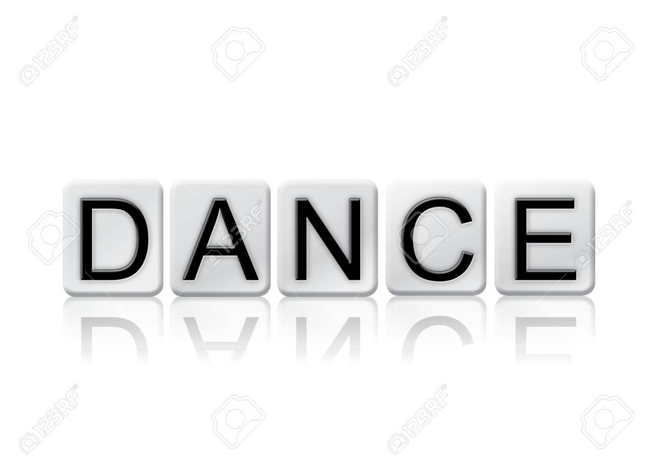 the word dance written in tile letters isolated on a white stock photo the word dance written in tile letters isolated on a white background