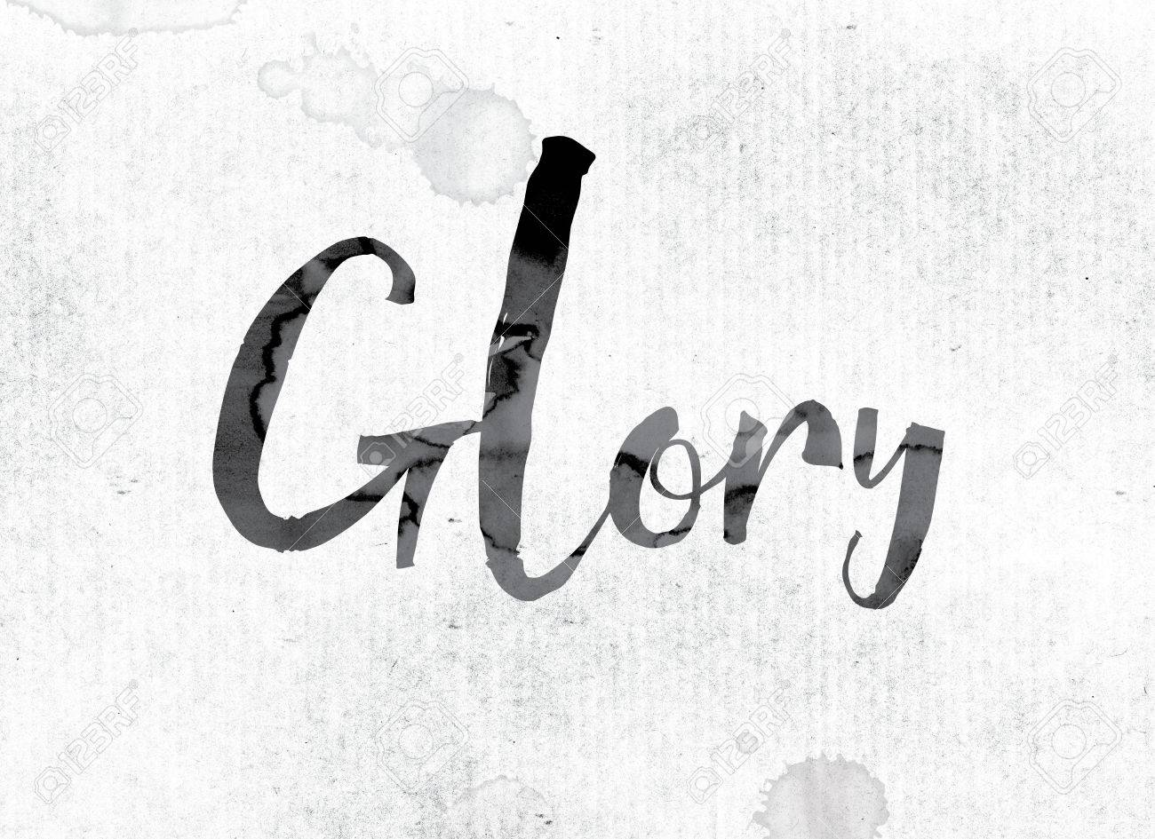 the word glory concept and theme painted in watercolor ink stock