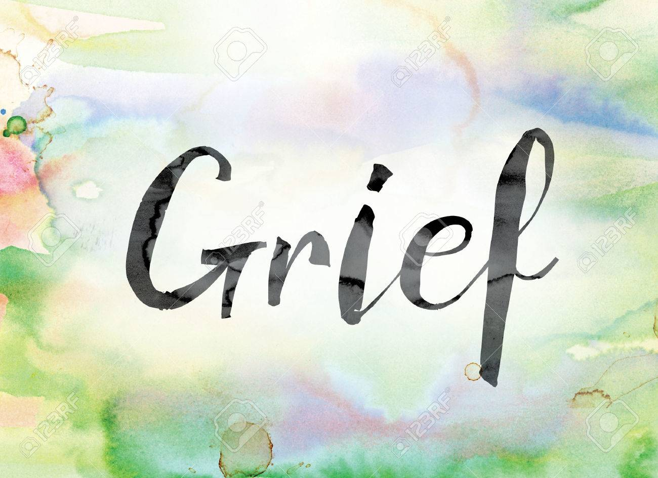 """The word """"Grief"""" painted in black ink over a colorful watercolor washed background concept and theme. - 64651324"""