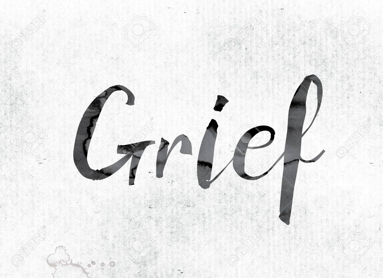 the word grief concept and theme painted in watercolor ink stock