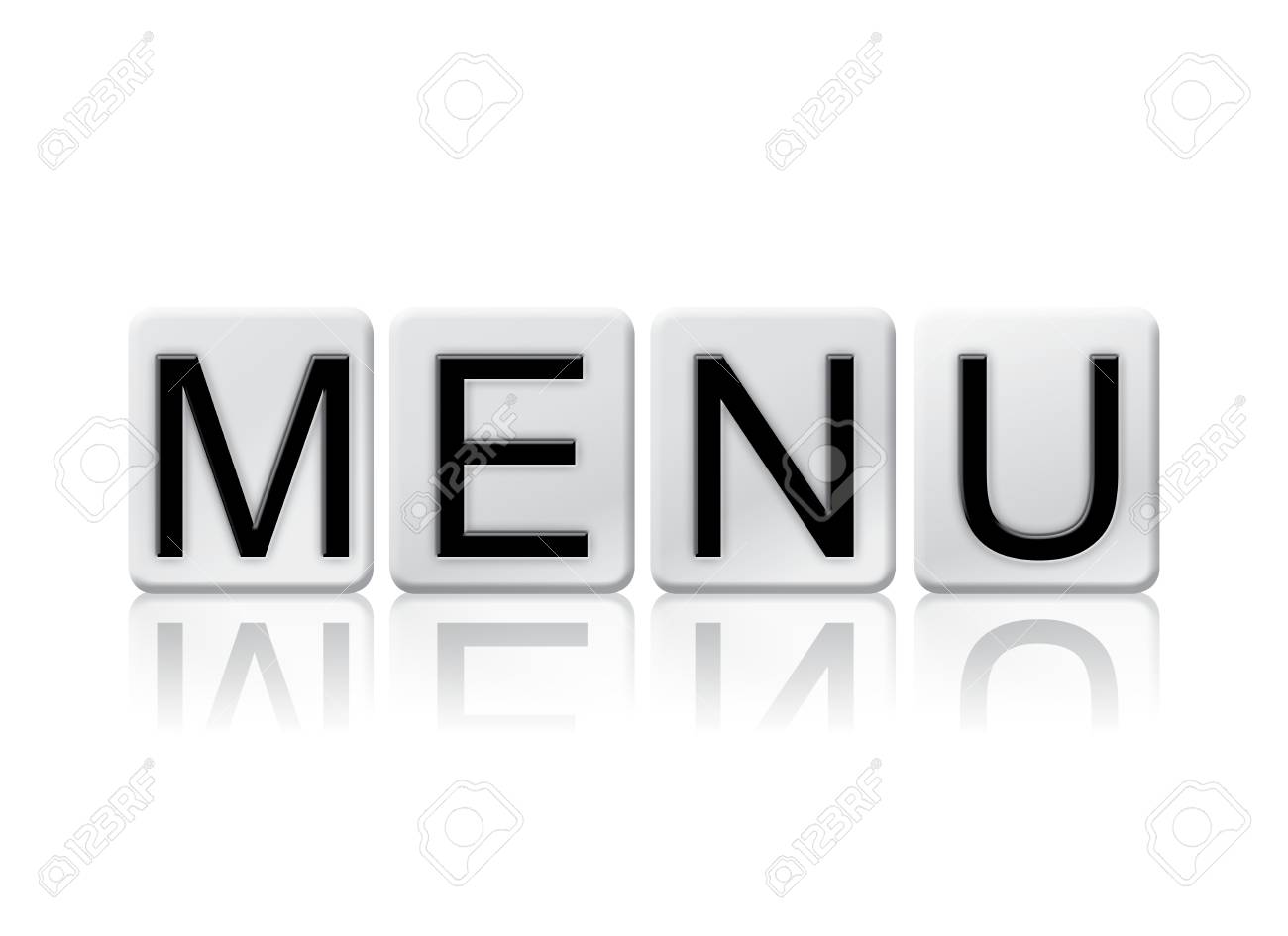 "the word ""menu"" written in tile letters isolated on a white"