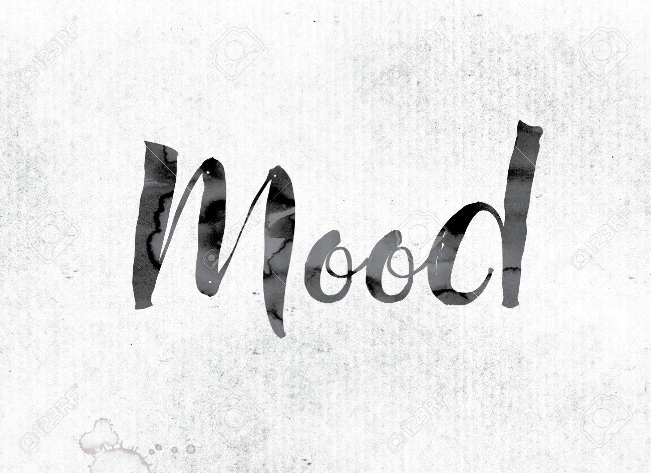 "Stock Photo - The word ""Mood"" concept and theme painted in watercolor ink  on a white paper."
