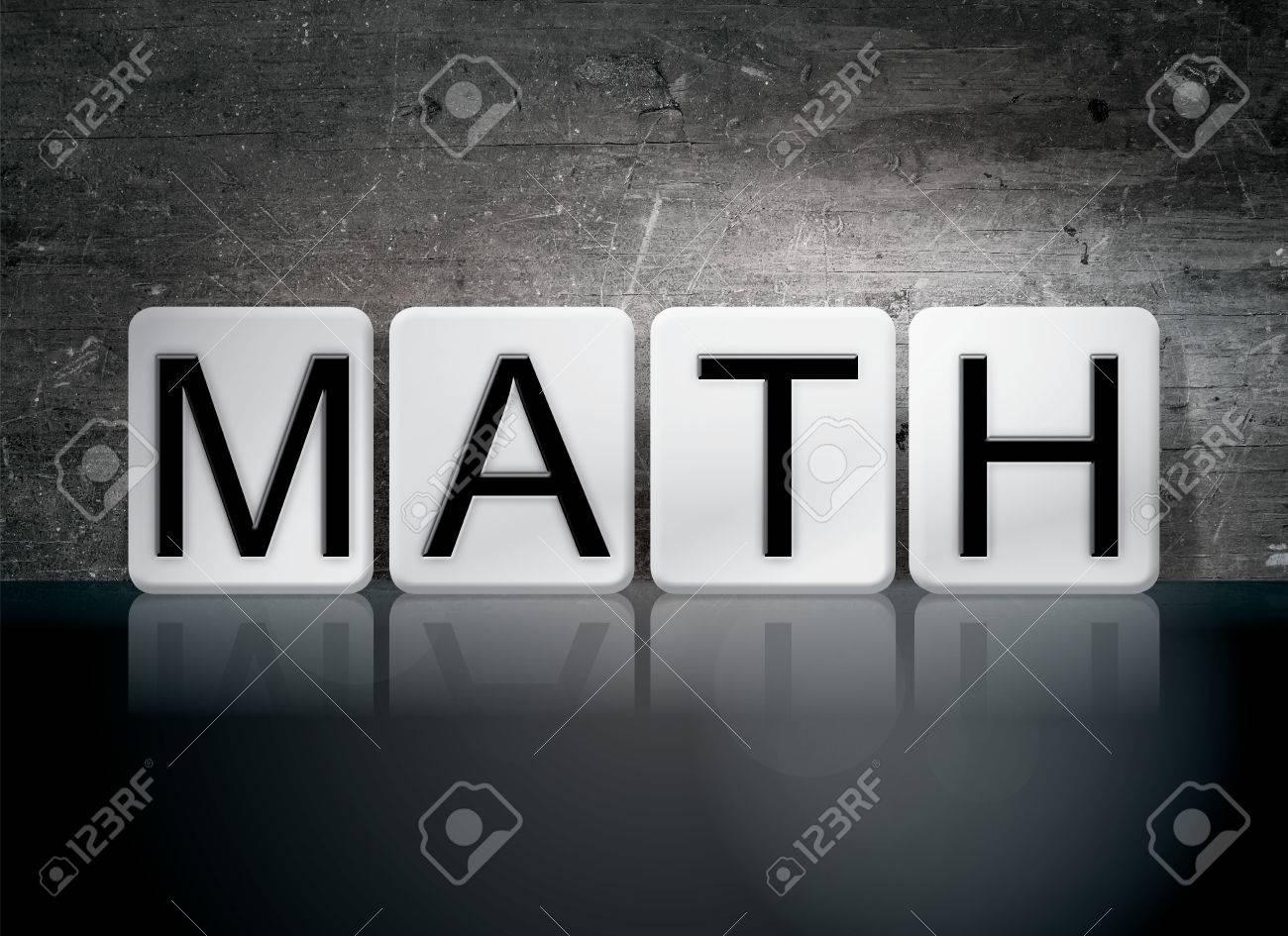 "the word ""math"" written in white tiles against a dark vintage"