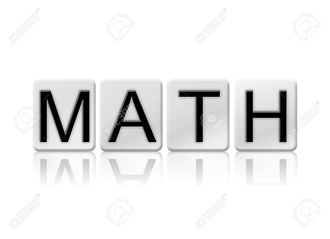 """the word """"math"""" written in tile letters isolated on a white"""
