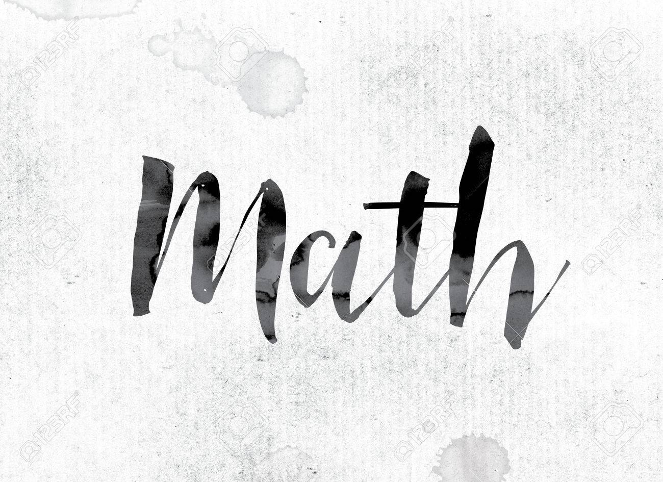 """the word """"math"""" concept and theme painted in watercolor ink on"""