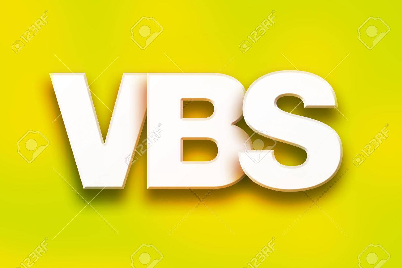 stock photo the word vbs written in white 3d letters on a colorful background concept and theme