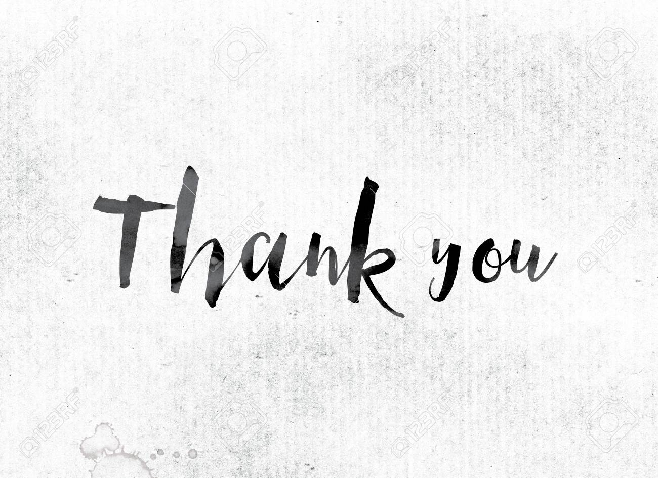 the word thank you concept and theme painted in watercolor stock