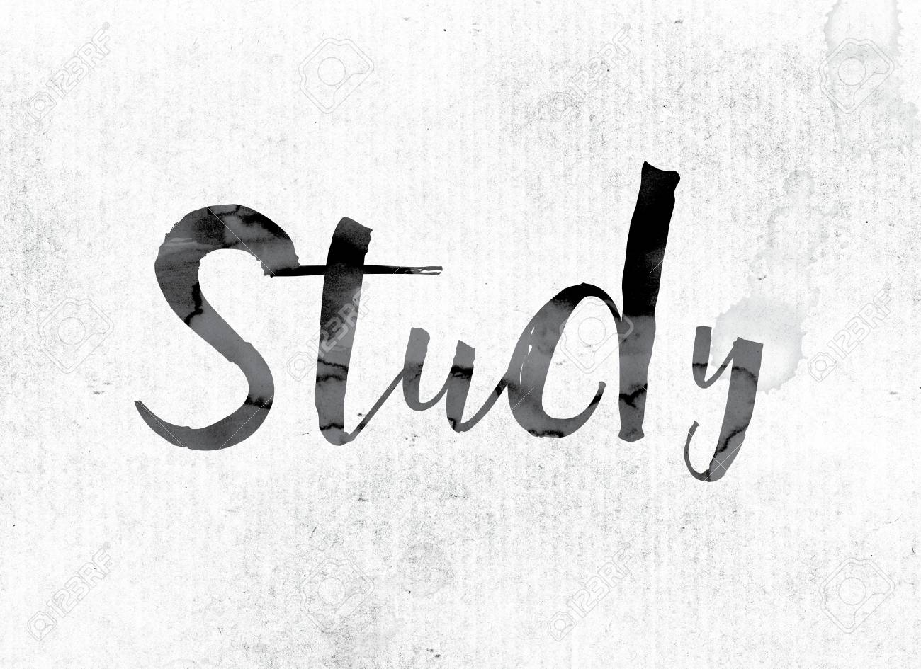 the word study concept and theme painted in watercolor ink stock