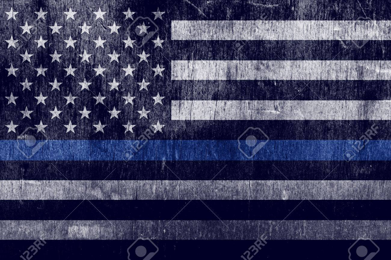 An aged textured law enforcement support flag with a thin blue line. - 70861318